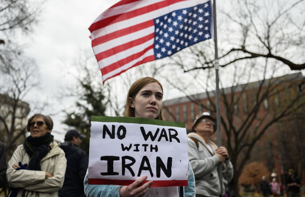 Anti-war activists protest in front of the White House in Washington, DC, on 4 January 2020. Demonstrators are protesting the US drone attack that killed Iran's Major General Qasem Soleimani in Iraq on 3 January, a dramatic escalation in the spiralling tensions between Iran and the US, which has pledged to send thousands more troops to the region.