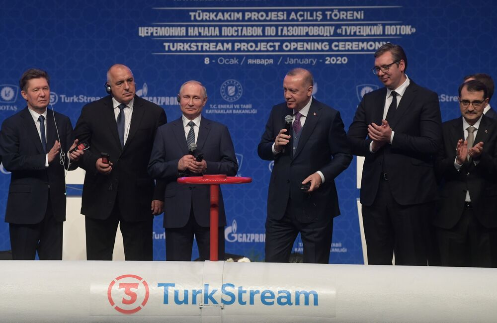 President Vladimir Putin and his Turkish counterpart Recep Tayyip Erdogan at the ceremony marking the official launch of TurkStream gas pipeline.