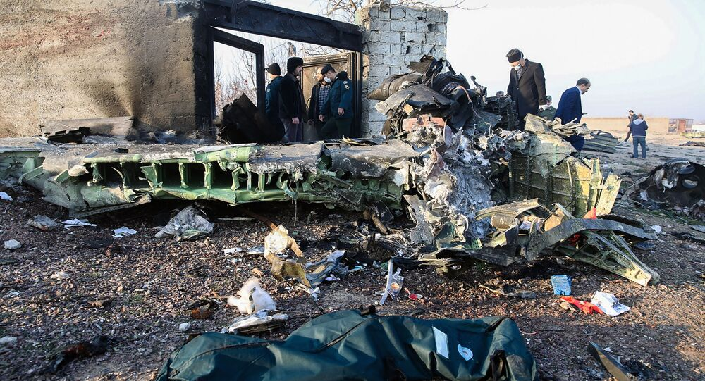 People Stand Near the Wreckage After a Ukrainian Plane