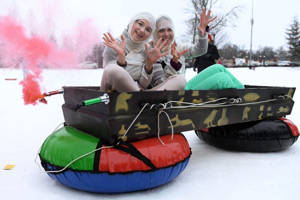 The winners of the Kazan's sleighs festival in Russia.