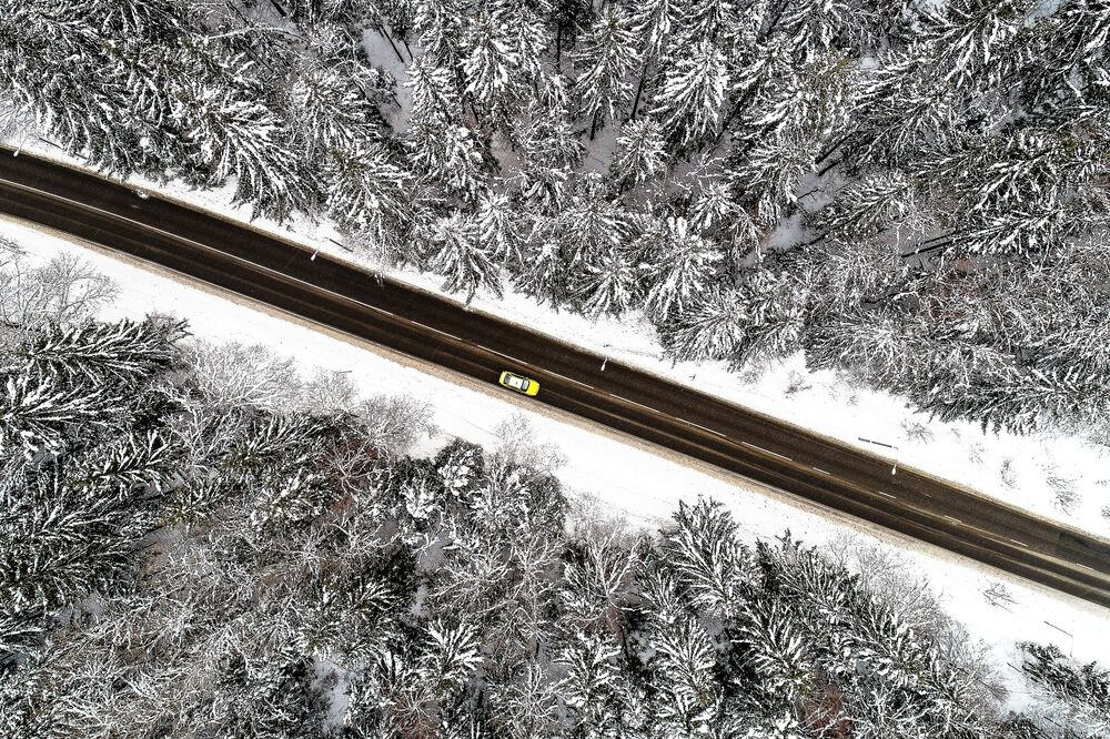 A car passes through a forest in the Troitsk administrative district of Moscow