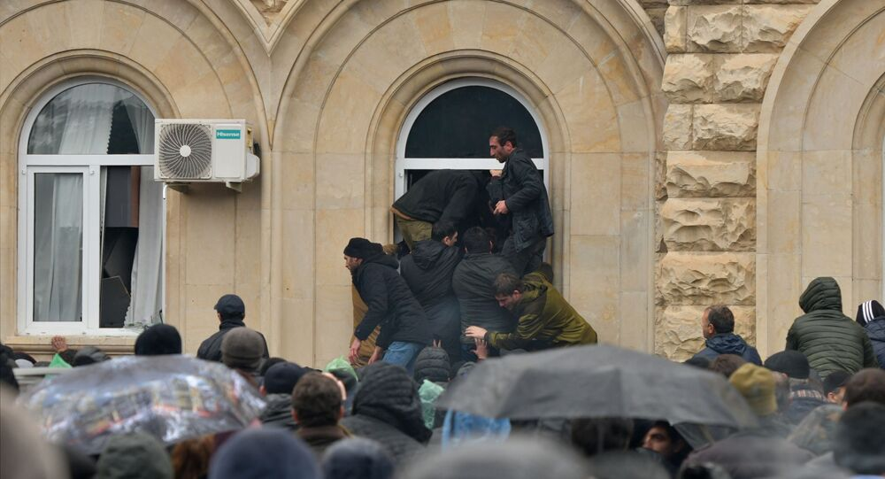 Protesters assault presidential administration building in Sukhumi, Republic of Abkhazia