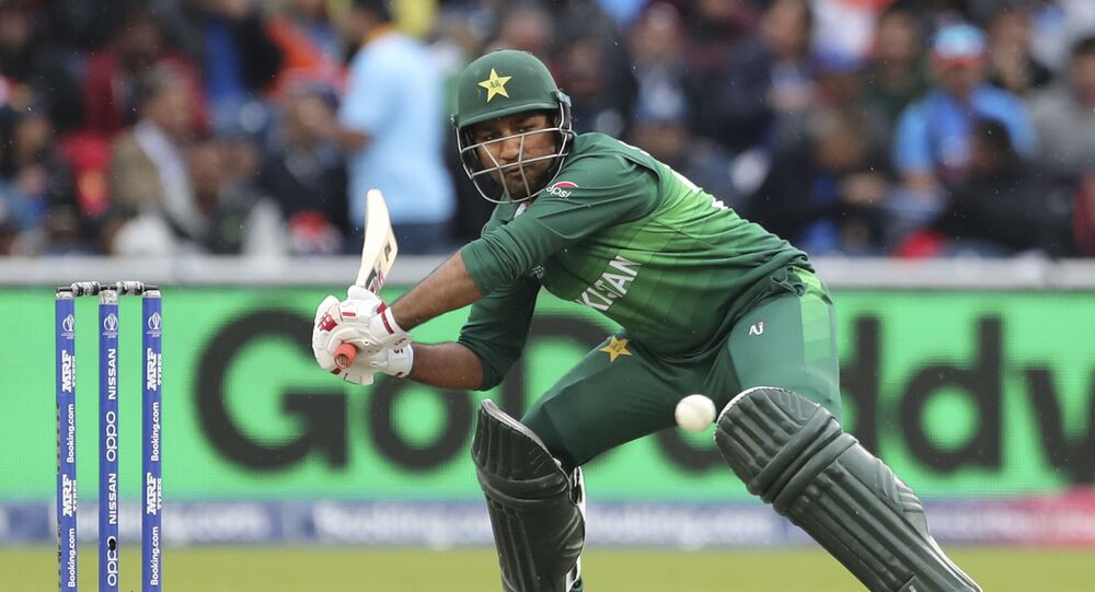 Pakistan's captain Sarfaraz Ahmed bats during the Cricket World Cup match between India and Pakistan at Old Trafford in Manchester, England, Sunday, June 16, 2019