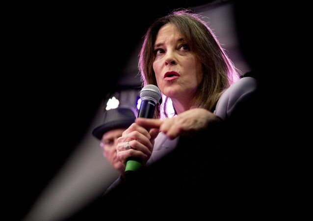 Democratic presidential candidate Marianne Williamson speaks at a the Faith, Politics and the Common Good Forum at Franklin Jr. High School, Thursday, Jan. 9, 2020, in Des Moines, Iowa