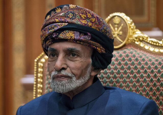 Sultan of Oman Qaboos bin Said al-Said sits during a meeting with Secretary of State Mike Pompeo at the Beit Al Baraka Royal Palace in Muscat, Oman, Monday,  Jan. 14, 2019