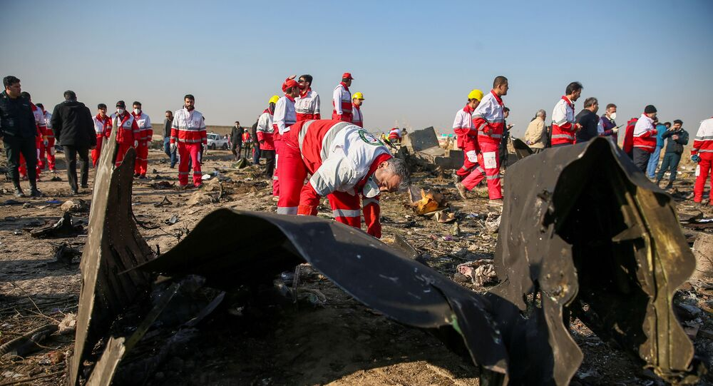 FILE PHOTO: Red Crescent workers check the debris from the Ukraine International Airlines plane, that crashed after take-off from Iran's Imam Khomeini airport, on the outskirts of Tehran, Iran January 8, 2020. Nazanin Tabatabaee/WANA (West Asia News Agency)/File Photo