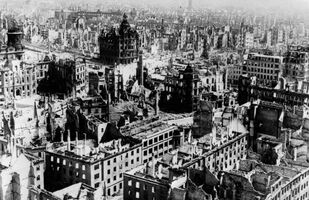 Undated file photo shows the demolished city of Dresden after the fatal allied forces' air raids on 13 and 14 February 1945.