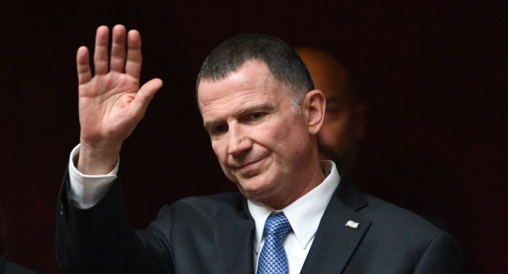 Israeli parliament (Knesset) speaker Yuli Edelstein gestures prior to attend a session of Questions to the government at the French National Assembly in Paris, on May 16, 2018