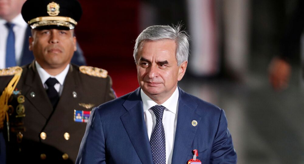 The president of the breakaway Georgian region of Abkhazia, Raul Khajimba, arrives to attend Venezuelan President Nicolas Maduro's ceremonial swearing-in in Caracas, Venezuela January 10, 2019.