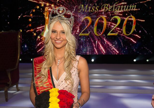 Miss Belgium 2020 Celine Van Ouytsel celebrates after winning the Miss Belgium 2020 beauty contest on January 11, 2020 in De Panne.