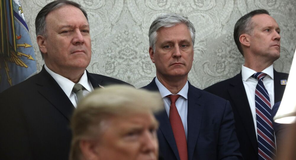 U.S. President Donald Trump speaks as Secretary of State Mike Pompeo, and National Security Adviser Robert O'Brien listen during a meeting with Guatemalan President Jimmy Morales