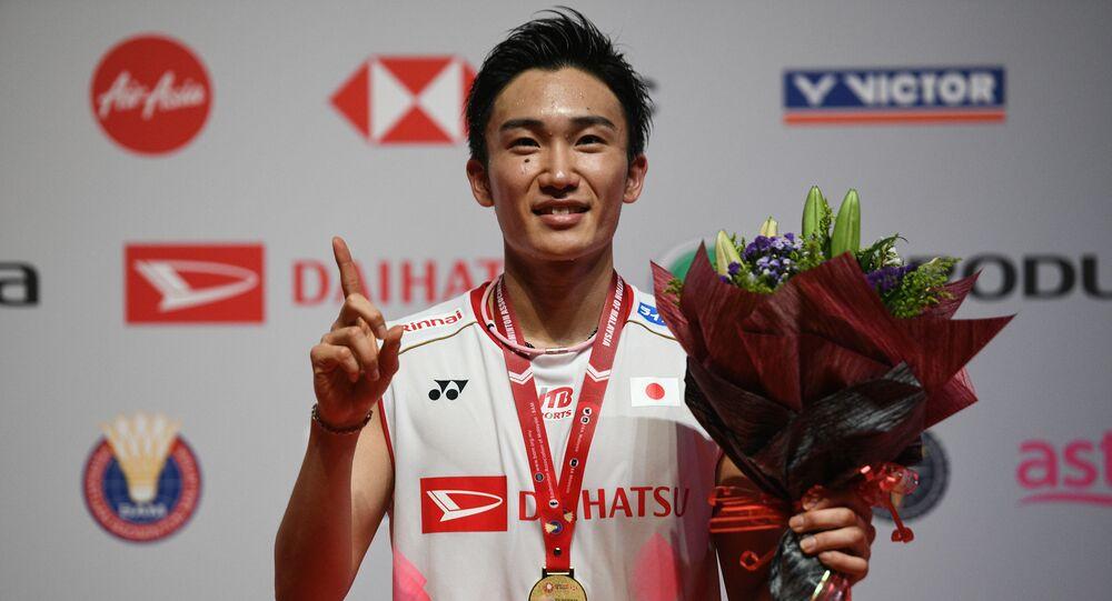Japan's Kento Momota at the Malaysia Open badminton tournament in Kuala Lumpur