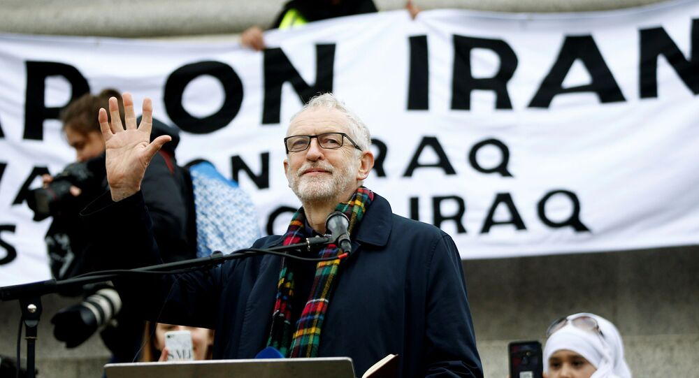 Britain's Labour Party leader Jeremy Corbyn speaks during a protest to oppose the threat of war with Iran, in London, Britain January 11, 2020