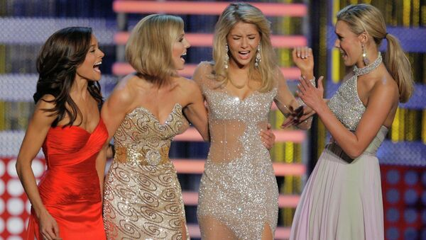 Miss Michigan Kirsten Haglund, second from right, reacts as she is named Miss America 2008 during the Miss America Pageant at the Planet Hollywood hotel and casino in Las Vegas, Saturday, Jan. 26, 2008. - Sputnik International