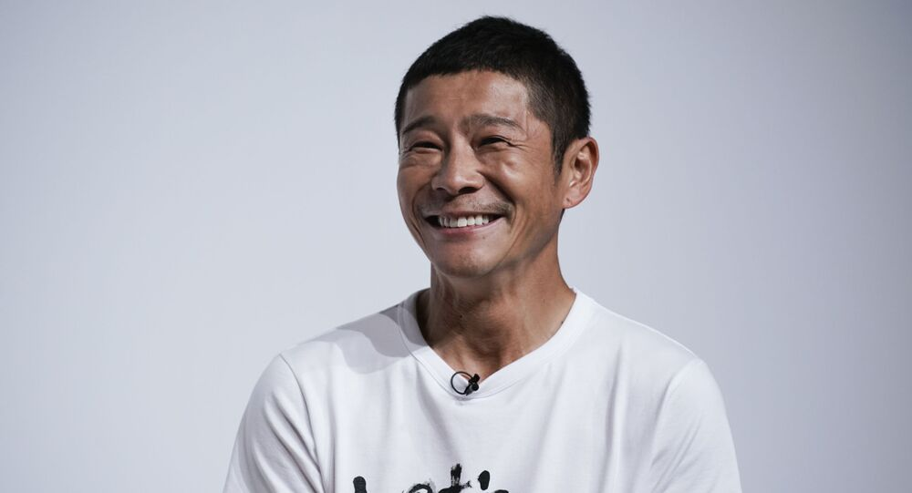 Zozo founder Yusaku Maezawa attends a news conference Thursday, Sept. 12, 2019, in Tokyo.