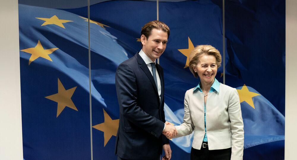 European Commission President Ursula von der Leyen meets with Austria's Chancellor Sebastian Kurz, in Brussels, Belgium January 12, 2020