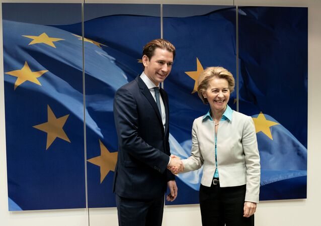 European Commission President Ursula von der Leyen meets with Austria's Chancellor Sebastian Kurz, in Brussels, Belgium January 12, 2020