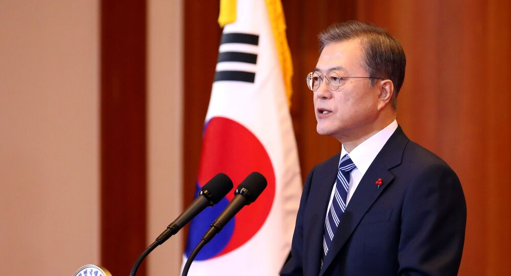 South Korea's President Moon Jae-in delivers a New Year address at the Presidential Blue House in Seoul, South Korea, January 7, 2020.