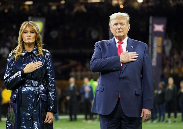 U.S. President Donald Trump and first lady Melania Trump attend the College Football Playoff National Championship game in New Orleans, Louisiana