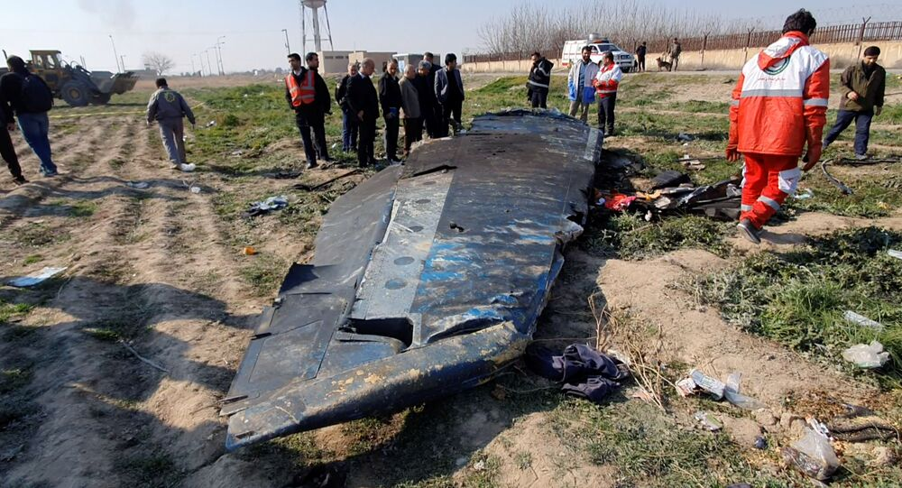 General view of the debris of the Ukraine International Airlines, flight PS752, Boeing 737-800 plane that crashed after take-off from Iran's Imam Khomeini airport, on the outskirts of Tehran, Iran January 8, 2020 is seen in this screen grab obtained from a social media video