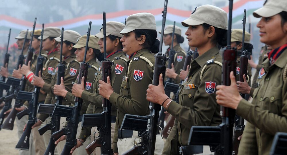 Indian Punjab state police women participate in a rehearsal for the upcoming 66th Republic Day parade in Amritsar on January 20, 2015. India will celebrate its 66th Republic Day on January 26