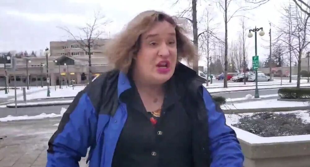 Jessica Yaniv seen in a screengrab from a video filmed outside of the Provincial Court of British Columbia on Monday