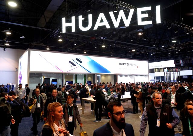 The Huawei booth is shown during the 2020 CES in Las Vegas, Nevada, U.S. January 7, 2020