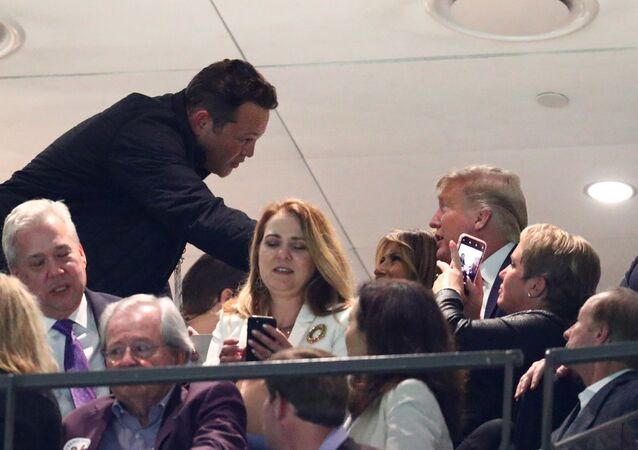 Jan 13, 2020; New Orleans, Louisiana, USA; Movie actor Vince Vaughn greets First Lady Melania Trump and President Donald J. Trump in the College Football Playoff national championship game between the Clemson Tigers and the LSU Tigers at Mercedes-Benz Superdome.