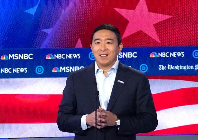 Democratic presidential candidate and entrepreneur Andrew Yang speaks during the U.S. Democratic presidential candidates debate at the Tyler Perry Studios in Atlanta, Georgia, U.S. November 20, 2019