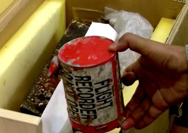 A flight recorder, also known as a black box, purportedly recovered from the crashed Ukrainian airliner, Boeing 737-800, is seen in this still image taken from a video, in Tehran, Iran January 10, 2020