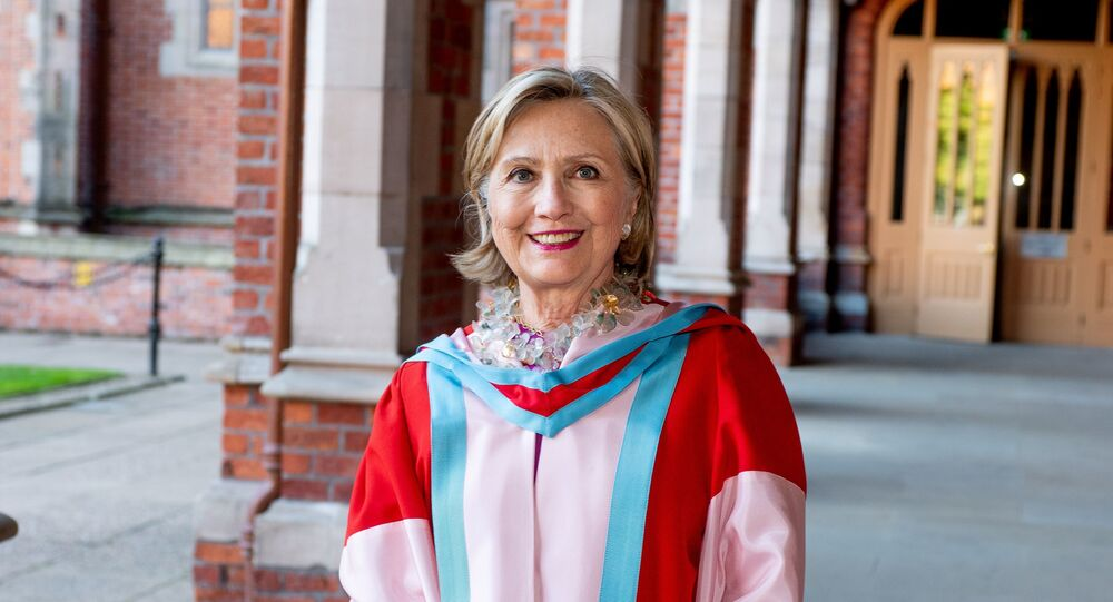 Former U.S. Secretary of State Hillary Clinton is seen at her honorary graduation ceremony at Queen's University Belfast, Northern Ireland October, 10 2018