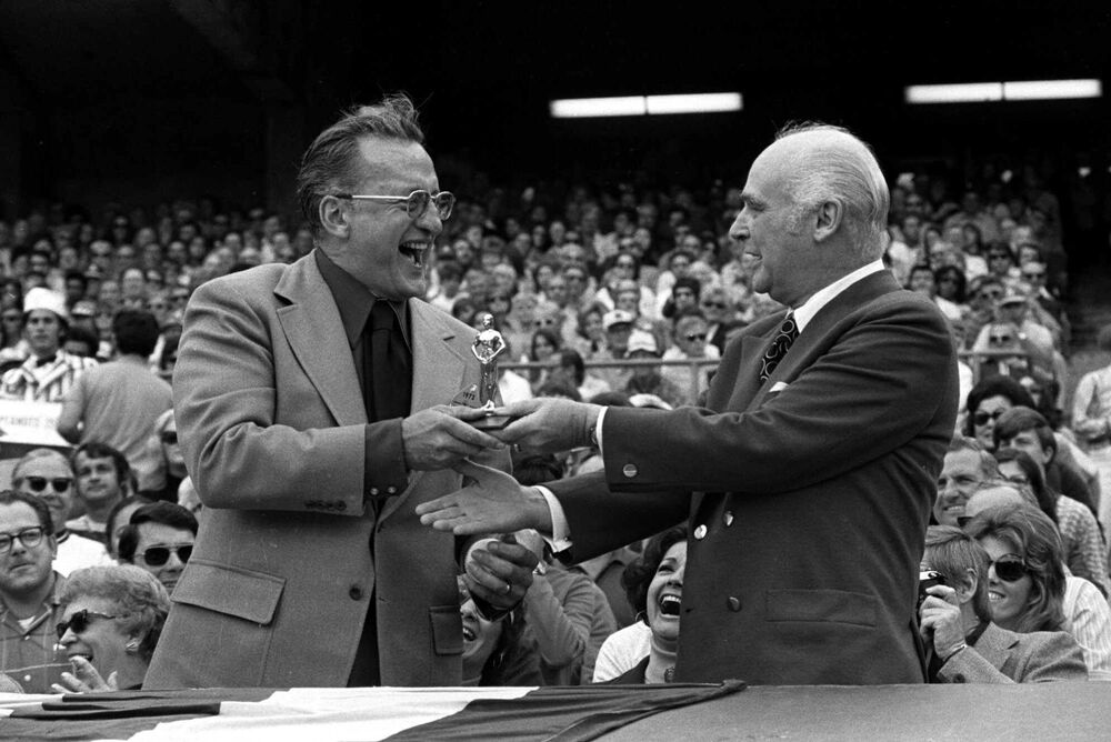 Charles Finley, right, owner of the Oakland A's, presents an Oscar to actor George C. Scott during pregame ceremonies before the American League playoff game between Oakland and Detroit in this Oct. 8, 1972, photo in Oakland, Calif. Scott won the Oscar for his role in the movie Patton, but declined it, so Finley decided that Oct. 8, 1972, would be a good day to present his Oscar to the actor. Scott, the gifted, gravelly-voiced actor best known for portraying Patton and refusing the 1970 Academy Award for the performance, died Wednesday, Sept. 22, 1999. He was 71.