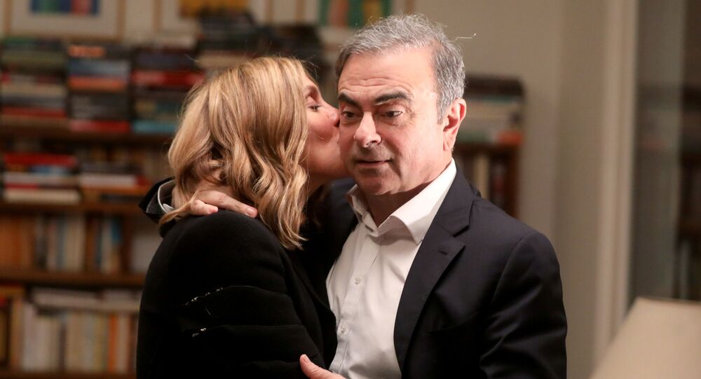 Former Nissan chairman Carlos Ghosn and his wife Carole Ghosn pose for a picture after an exclusive interview with Reuters in Beirut, Lebanon January 14, 2020