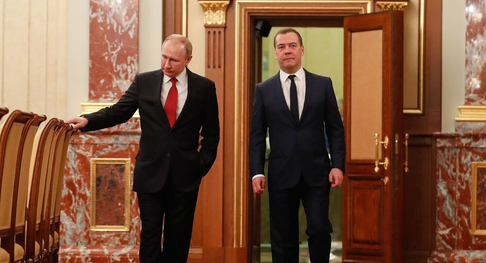 Russian President Vladimir Putin and Russian Prime Minister Dmitry Medvedev visit the Government's headquarter, in Moscow, Russia