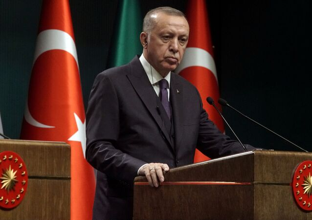 FILE PHOTO: Turkish President Tayyip Erdogan reacts during a news conference in Ankara, Turkey January 13, 2020