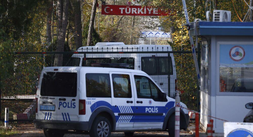 Turkish security vehicles stationed at the Turkey-Greece border gate near Pazarkule, Edirne, Turkey, 12 November 2019