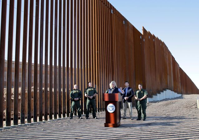 U.S. Department of Homeland Security Secretary Kirstjen Nielsen speaks during a visit to U.S. President Donald Trump's border wall in the El Centro Sector in Calexico, California, U.S. October 26, 2018.