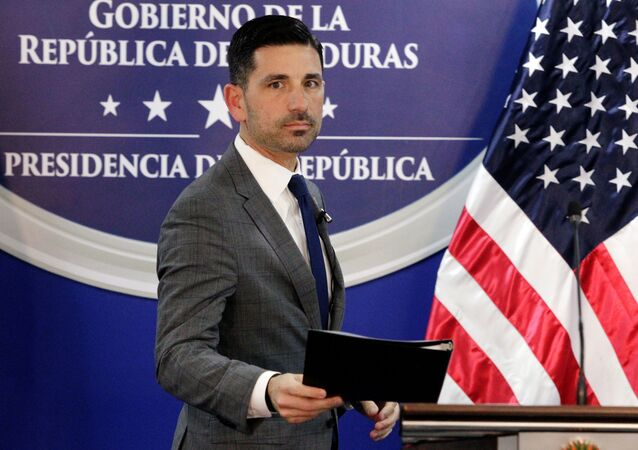 U.S. Department of Homeland Security (DHS) acting Secretary Chad Wolf arrives for a joint message with Honduras' President Juan Orlando Hernandez (not pictured), at the Presidential House in Tegucigalpa, Honduras January 9, 2020.