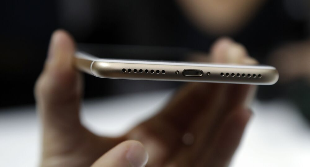 The lightning port of an iPhone 7