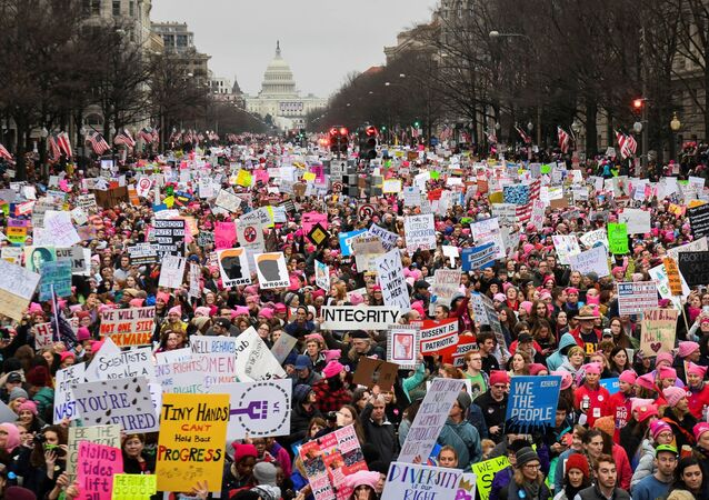 Hundreds of thousands march down Pennsylvania Avenue during the Women's March in Washington, DC