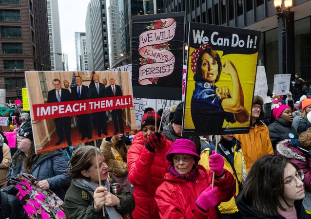People gather in Federal Plaza during the Women's March in Chicago, Illinois, U.S. January 18, 2020.