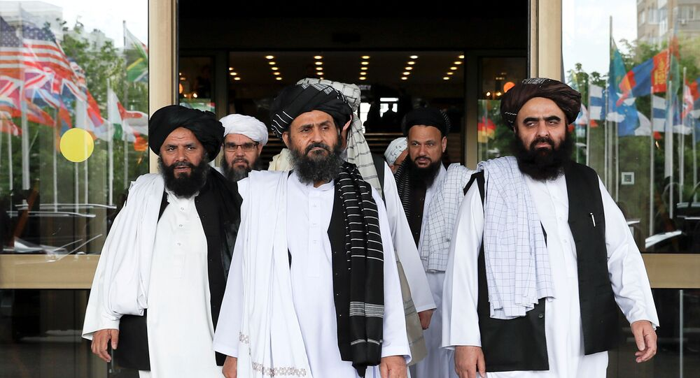 File picture of members of a Taliban delegation leaving after peace talks with Afghan senior politicians in Moscow, Russia May 30, 2019.