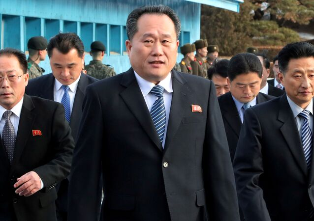 North Korean delegation led by Ri Son Gwon, Chairman of the Committee for the Peaceful Reunification of the Country (CPRC) of DPRK, crosses the concrete border to attend their meeting at the truce village of Panmunjom in the demilitarised zone separating the two Koreas, South Korea, January 9, 2018.