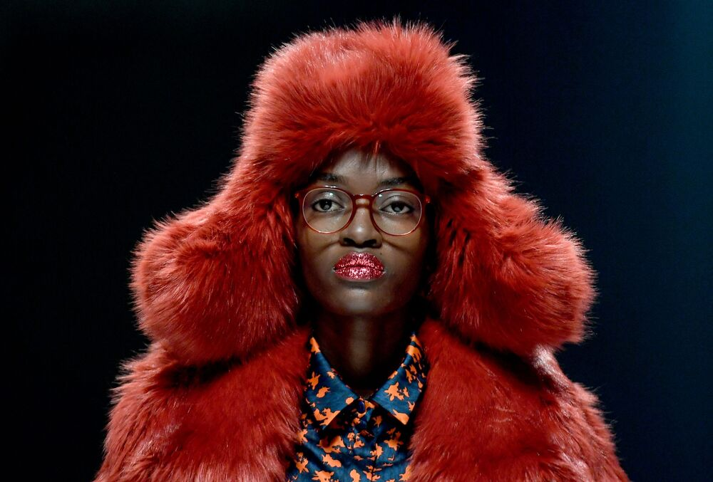 A model presents fashion from the label KXXK - Kilian Kerner during a fashion show at Berlin Fashion Week on 15 January 2020 in Berlin.