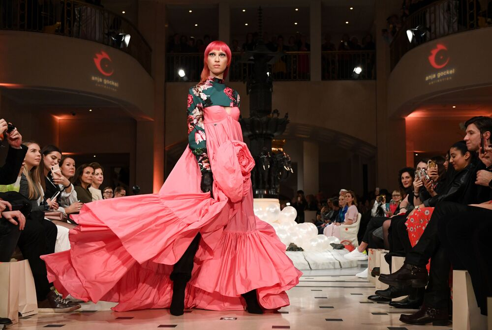A model presents a creation by designer Anja Gockel during Berlin Fashion Week in Berlin, Germany on 14 January 2020.