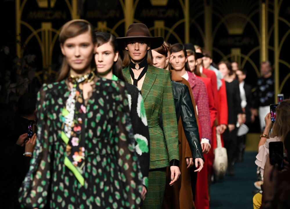 Models present creations by Marc Cain during Berlin Fashion Week in Berlin, Germany on 14 January 2020.