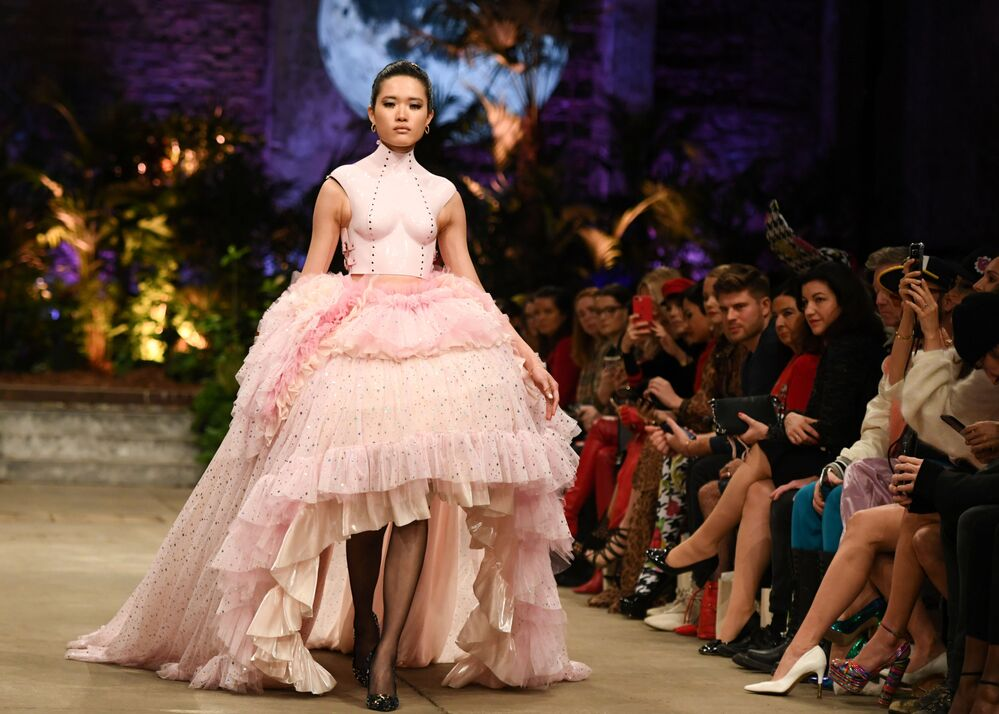 A model presents a creation by designer Marina Hoermanseder during Berlin Fashion Week in Berlin, Germany on 16 January 2020.