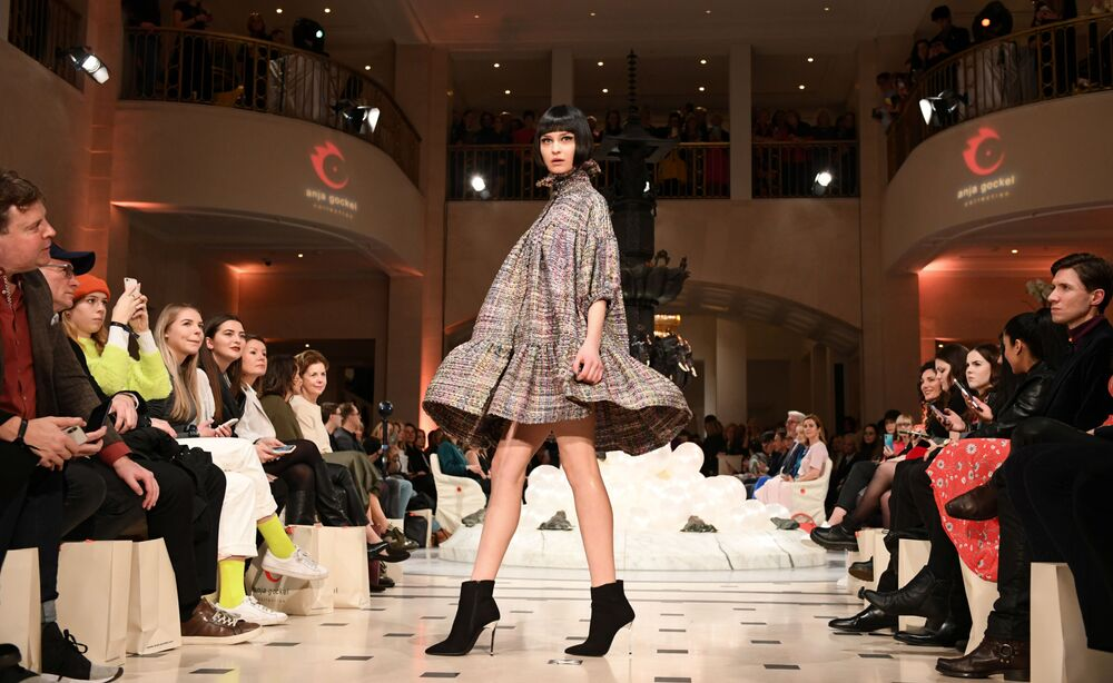 Models present creations by designer Anja Gockel during Berlin Fashion Week in Berlin, Germany on 14 January 2020.