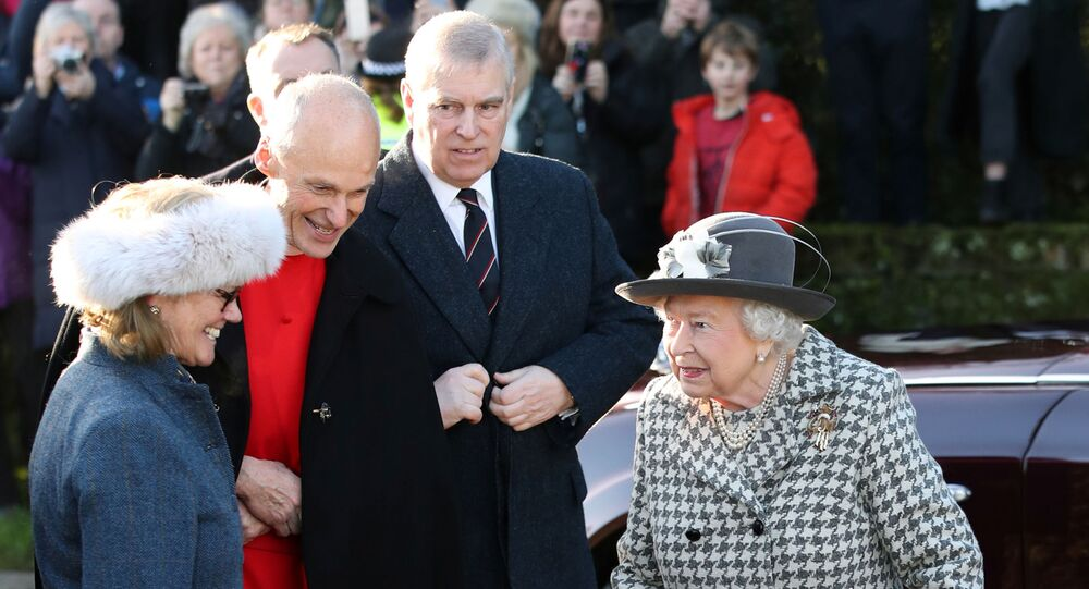 Britain's Queen Elizabeth and Britain's Prince Andrew arrive at St. Mary the Virgin church in Hillington