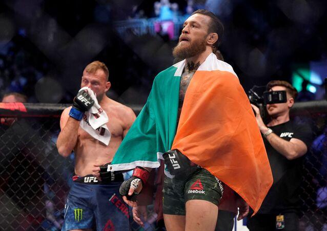 Conor McGregor celebrates his win against Donald Cerrone